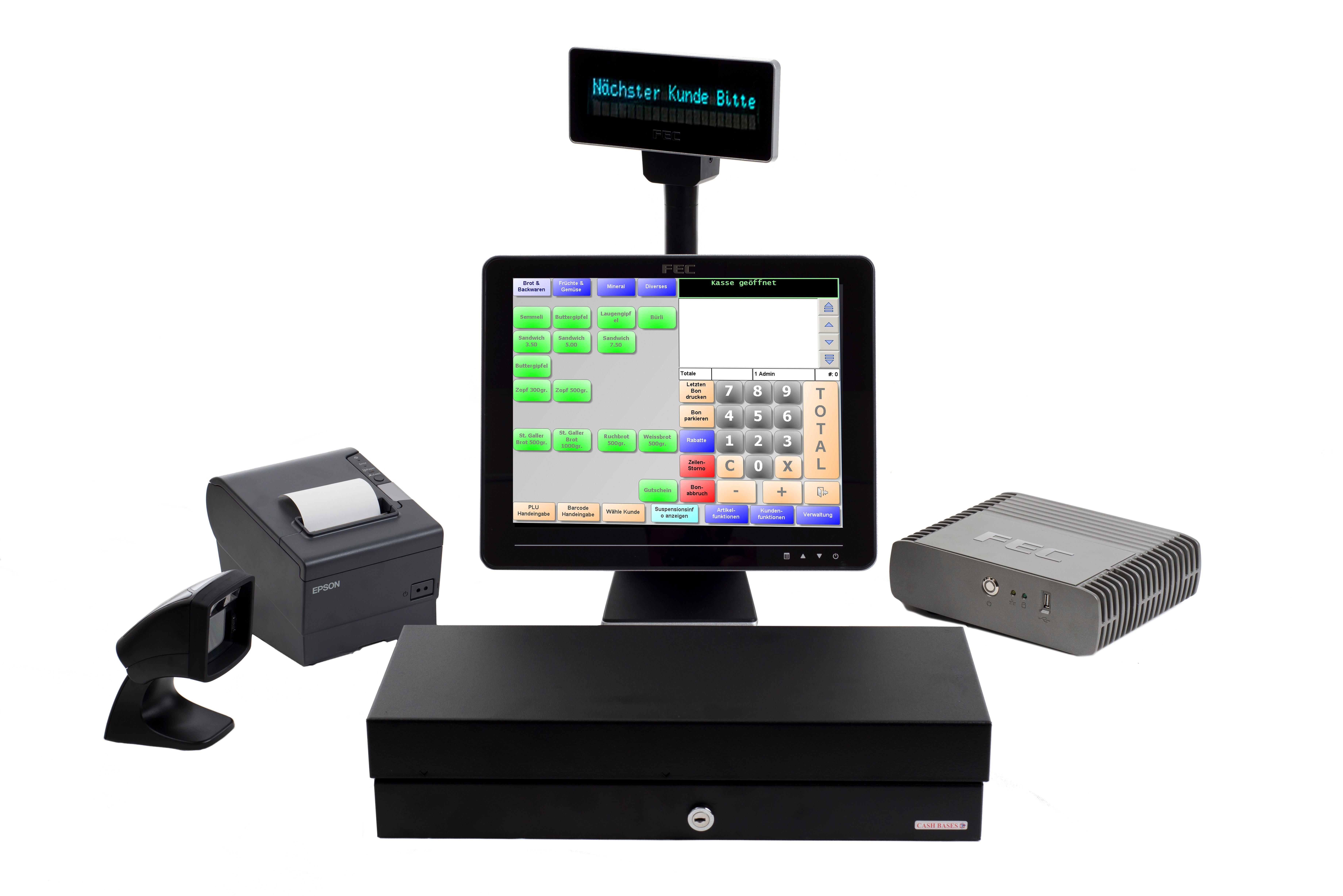 FEC Tourchscreen-Kasse mit Schublade, Scanner, Bondrucker und Anzeige