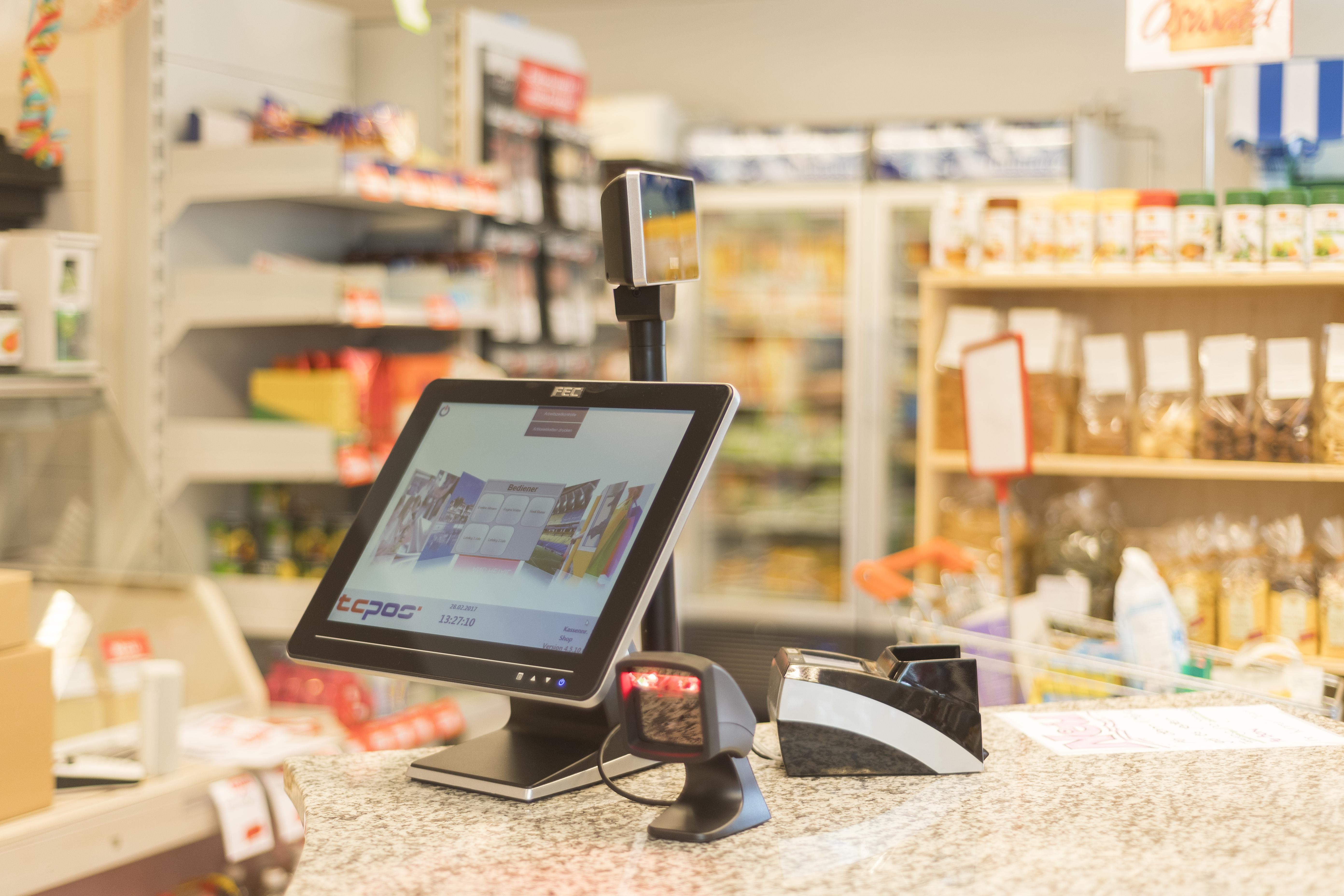 TCPOS Kassenlösung mit Bondrucker, Scanner und Touchscreen