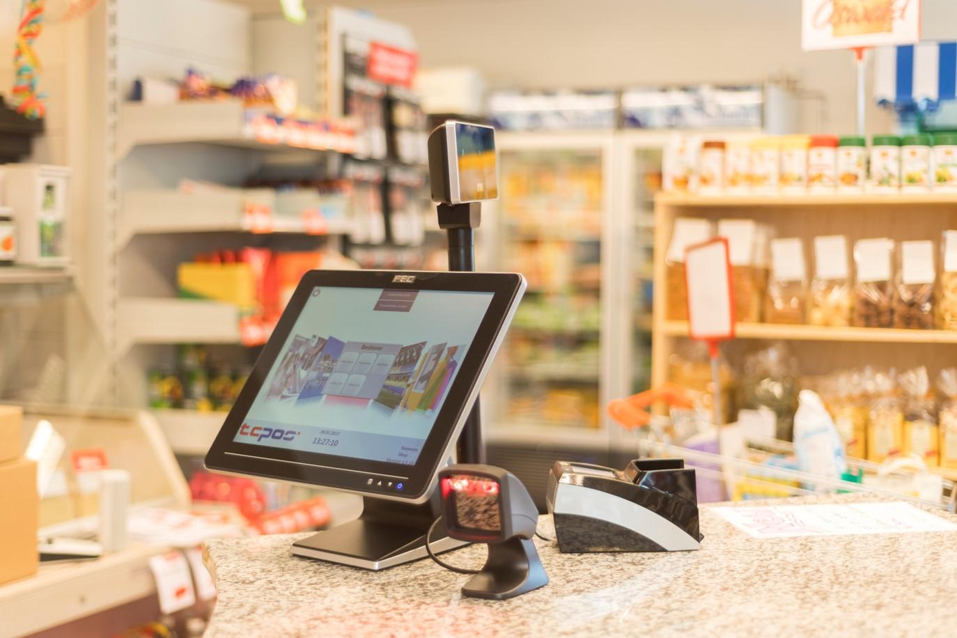 TCPOS Kassensystem mit Bondrucker, Scanner und Touchscreen